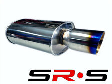 "SRS 3"" STAINLESS STEEL EXHAUST UNIVERSAL MUFFLER TYPE RE TIT BURN TIP JDM DEEP"