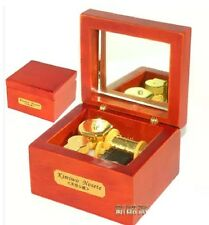 Red Wood Wind Up Gold Movement Mirror Music Box    ♫ MARY HAD A LITTLE LAMB ♫