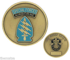 ARMY SPECIAL FORCES AIRBORNE THE GREEN BERETS MILITARY  CHALLENGE COIN