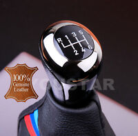 UK STOCK Premium Italian LEATHER SHADOW CHROME 6 Speed Manual Shift Knob for BMW