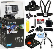 GoPro HERO4 Black Edition With 32GB Sandisk 12 Piece All you Need Bundle! New!