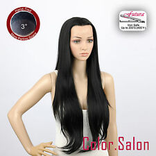 "HAND TIED 3"" Flesh LACE FRONT WIGS Straight Jet Black Super Long 96L(3)#1B(F)"
