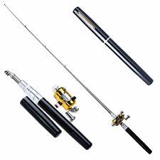 Mini Portable Pocket-size Fish Pen Aluminum Alloy Fishing Rod Pole Reel Com #Z
