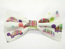 (1) PRE-TIED BOW TIE - COLORFUL TURTLES DRESSED IN PLAID ON A WHITE BACKGROUND