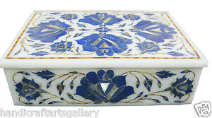 "7""x5""x2"" Marble Jewelry box Lapis Lazuli Floral Inlay Decor Wedding Gifts H1917"