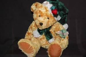 """Christmas Holiday Teddy Bear Brown Scarf Hat NWT First & Main Plush 14"""" Toy"""