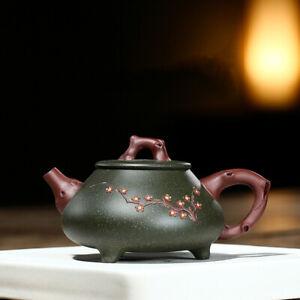 400ml handmade tea pot marked real yixing zisha green clay pot with three feet
