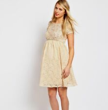 ASOS Maternity Skater Dress Womens Size 6 Cream Floral Lace Beaded Embellished