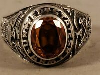 VINTAGE UNITED STATES ARMY QM CORPS STERLING SILVER RING  SIZE 13 3/4
