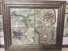 """Map of Towns and battles of Ireland l, 5"""" x 4"""" 1730 reproduction canvas map"""