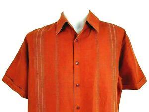 "CUBAVERA Mens Brown Ramie/Cotton S/S CUBAN SUMMER SHIRT - XL - Chest 52"" - £59"