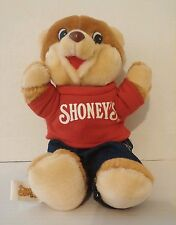 "1986 Shoney's Bear Plush Red T-Shirt Jeans 11"" Vintage Restaurant Advertising 3+"