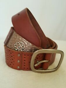 "FOSSIL Women's Sz Medium Colored Squares  Leather Wide Belt 38.5"" Long"