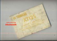 Yamaha XT125 (1982-1985) Genuine Owners Manual Riders Hand-Book XT 125 12V CE99