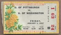 1937 Rose Bowl football ticket Pittsburgh Panthers v Washington Huskies, crease