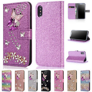 For iPhone 12 11 Pro XS Max XR X SE 7 8 Butterfly Wallet Case Women's Flip Cover