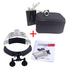 Dental Surgical Headband Binocular Loupe Magnifier 3.5x Glass+LED Headlight Lamp