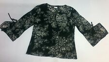 SUZANNE GREY SHEER CHIFFON BELL SLEEVE BLACK TUNIC TOP WOMENS 10