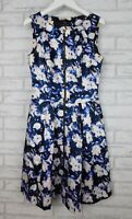 Cue Dress Sleeveless Blue, purple, cream print Exposed zip Sz 8