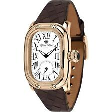 GLAM ROCK WOMEN'S MONOGRAMME BROWN LEATHER BAND SWISS QUARTZ WATCH GR72309N