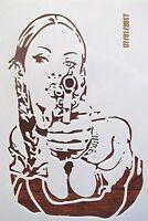 Gangster Girl with Gun Stencil Reusable 10 mil Mylar Stencil