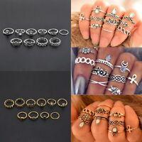 10Pcs/Set Fashion Cool Crystal Rhinestone Knuckle Midi Ring Jewelry