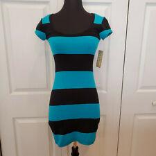 Derek Heart Black & Blue Striped stripe Scoop neck bodycon mini Dress XS NWT