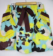 KENZO Floral Bubble A-line Skirt with Big Pockets Blue Yellow Polyester FR 40