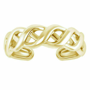 Adjustable Weave Design Toe Ring Solid 14K Yellow Gold Fn Womens Foot Jewelry