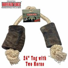 Buffalo Tugz 24 Inch Water Buffalo Horn and Rope Chew Toy and Tug Toy