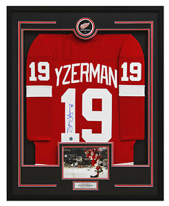 Steve Yzerman Autographed Detroit Red Wings 36x44 Framed Replica Jersey Display