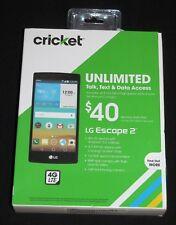 "Brand New Sealed (Cricket) LG Escape-2 8GB 4.7"" 4G LTE Black Prepaid Smartphone."