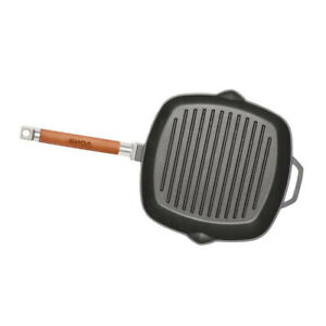 Cast Iron Ribbed Frying Pan/Skillet 28 cm Removable Handle Induction BIOL 45mm