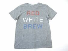 JUNK FOOD GRAY SMALL RED WHITE BREW 4TH OF JULY AMERICA BEER TSHIRT MENS NWT