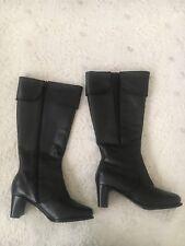 David Tate Wide Calf Black Leather Boots 8WW