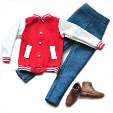Barbie Doll Fashion Clothes Coat Red Baseball Jacket Pants Set For KEN Dolls