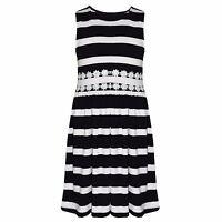 Girls Kids New Ex Branded Sleeveless Stripe Cotton Skater Summer Dress 5-13 Yrs