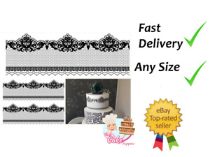 Black lace floral Edible Cake Bands Ribbon Cake side strips Icing or Wafer