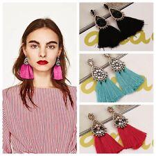 Tassel Earring Hand Made Statement Earring Multicolour Pompom Fringed Earring