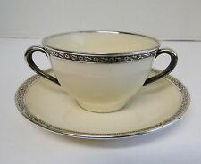 Lenox China STERLING SILVER Overlay Bouillon Cup & Saucer c. 1915 Vintage