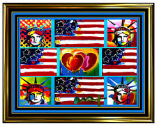 PETER MAX original signed PAINTING LIBERTY HEAD ART FLAG with HEART statue of
