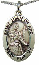 """Saint Joan of Arc Oval Sterling Silver 7/8"""" Medal w/ 18"""" Chain Boxed Made in USA"""