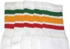 "19"" MID CALF WHITE tube socks with GREEN/GOLD/RED rasta stripes style 1 (19-40)"