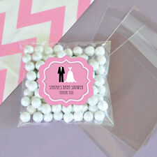 24 Pink Wedding Shower Personalized Clear Candy Bags Wedding Favors