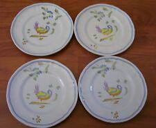 Longchamps Perouges 4 Bread Plates Bird Blue France
