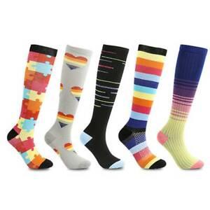 Shape Knee Socks Stockings Adult Fashion Cotton Breathable Rainbow Stripes JA