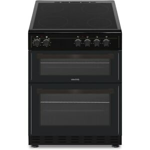 electriQ 60cm Double Oven Electric Cooker with Ceramic Hob - Black