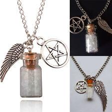 Wishing Supernatural Salt Bottle Necklace Pentagram Angel Wing Hot Charm Pendant