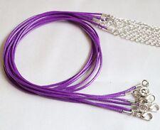 """1mm púrpura Encerado Cuerda de Cuero Gargantilla Collar Cadena para Colgante 18"""" Cable Reino Unido LT"""