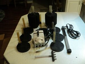 High Output  air pump, 2 lg sponge filters,heater, 7 small UG filters
